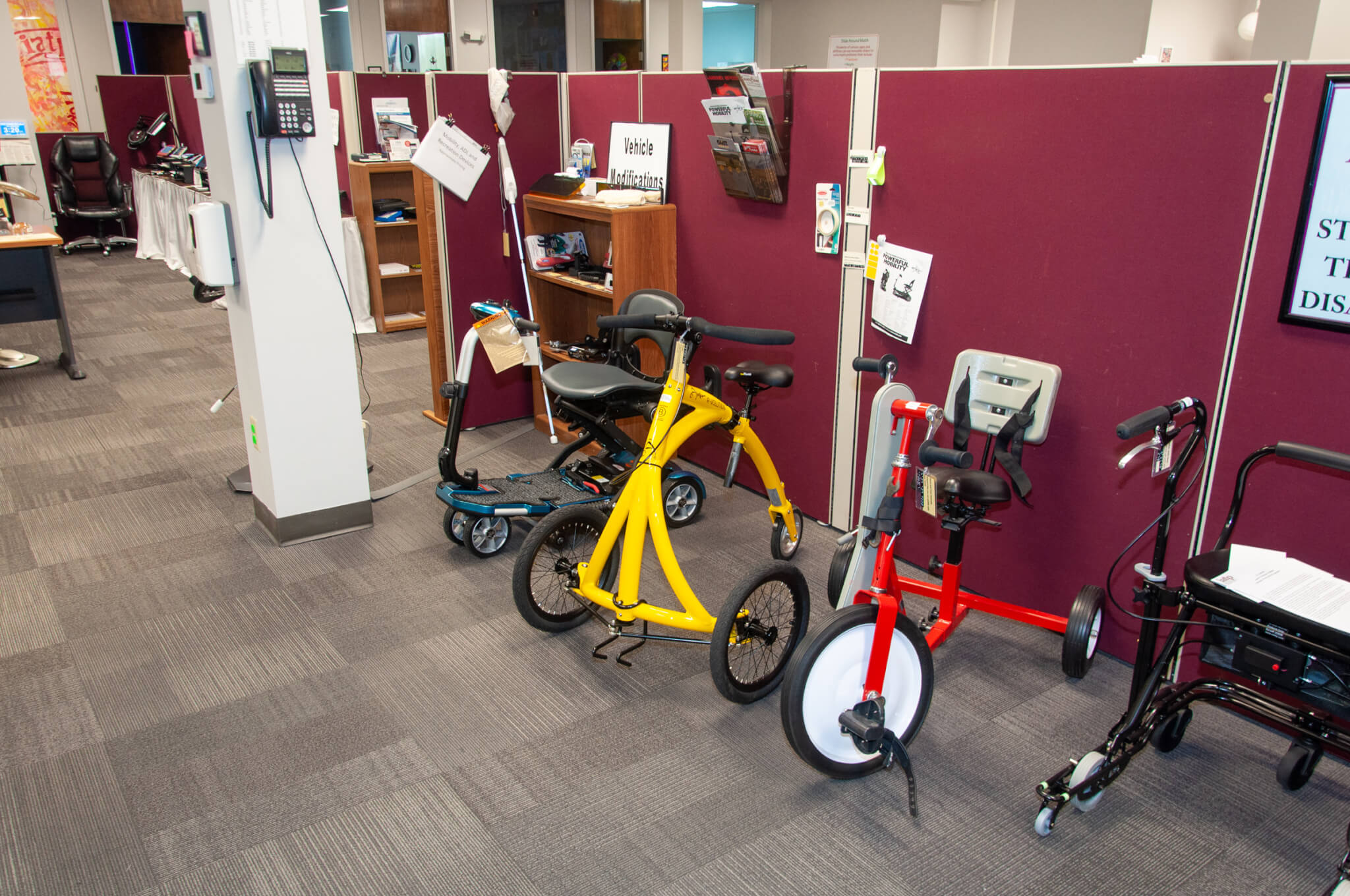 Mobility bikes, scooters, and walkers at IATP