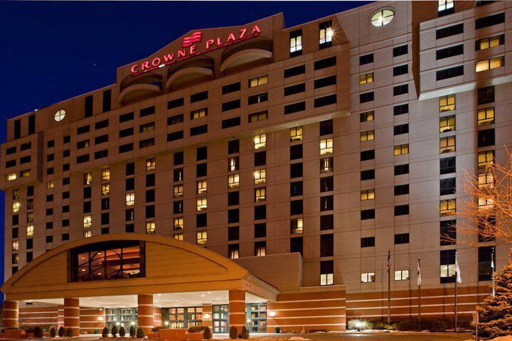 Evening photograph of the Crowne Plaza Hotel and Conference Center in Springfield, Illinois
