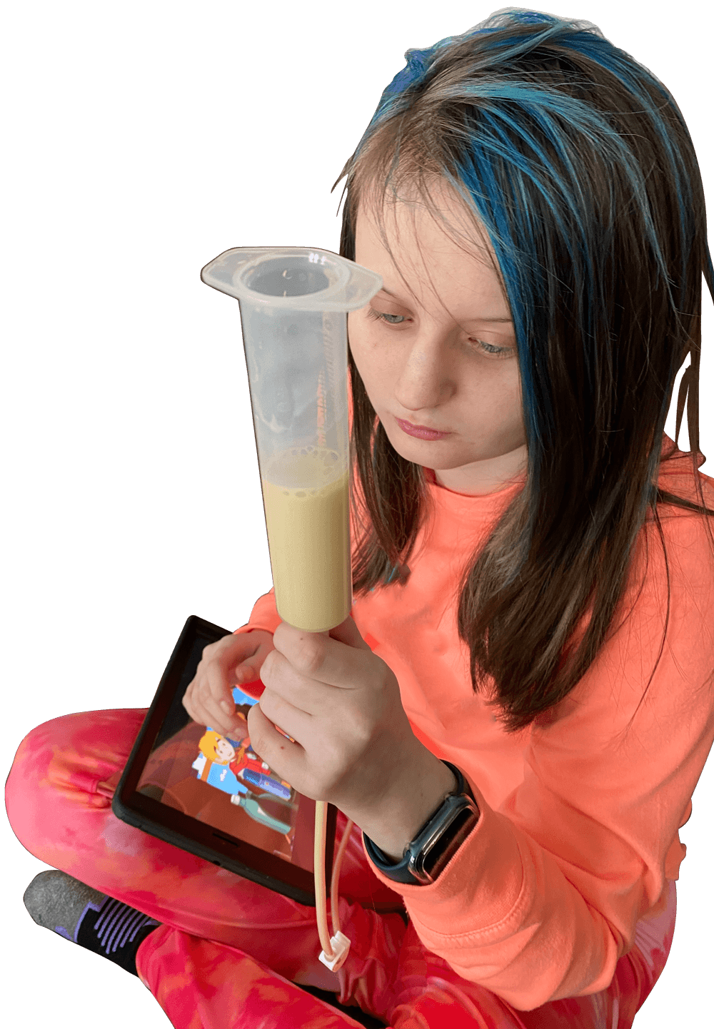 young woman using a 3d-printed feeding tube holder
